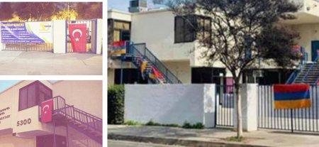 Թուրքի լամուկները գիշերը Լոս Անջելեսի հայկական դպրոցի վրա իրենց դրոշներն են կպցրել
