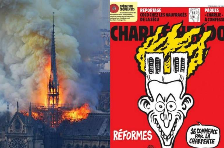 Charlie Hebdo-ի սկանդալային շապիկը.Մակրոին գլխին այրվող տաճարն է